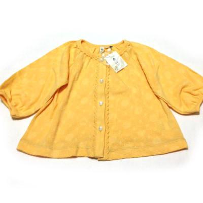 ドットジャガード半袖カーディガン黄色