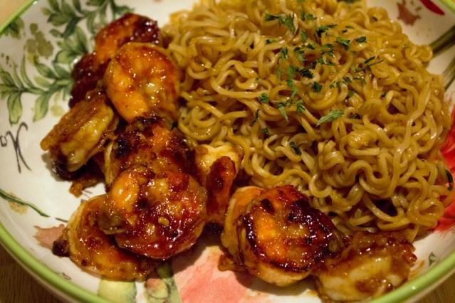 Asian Orange Sauce - Shrimp + Ramen 1