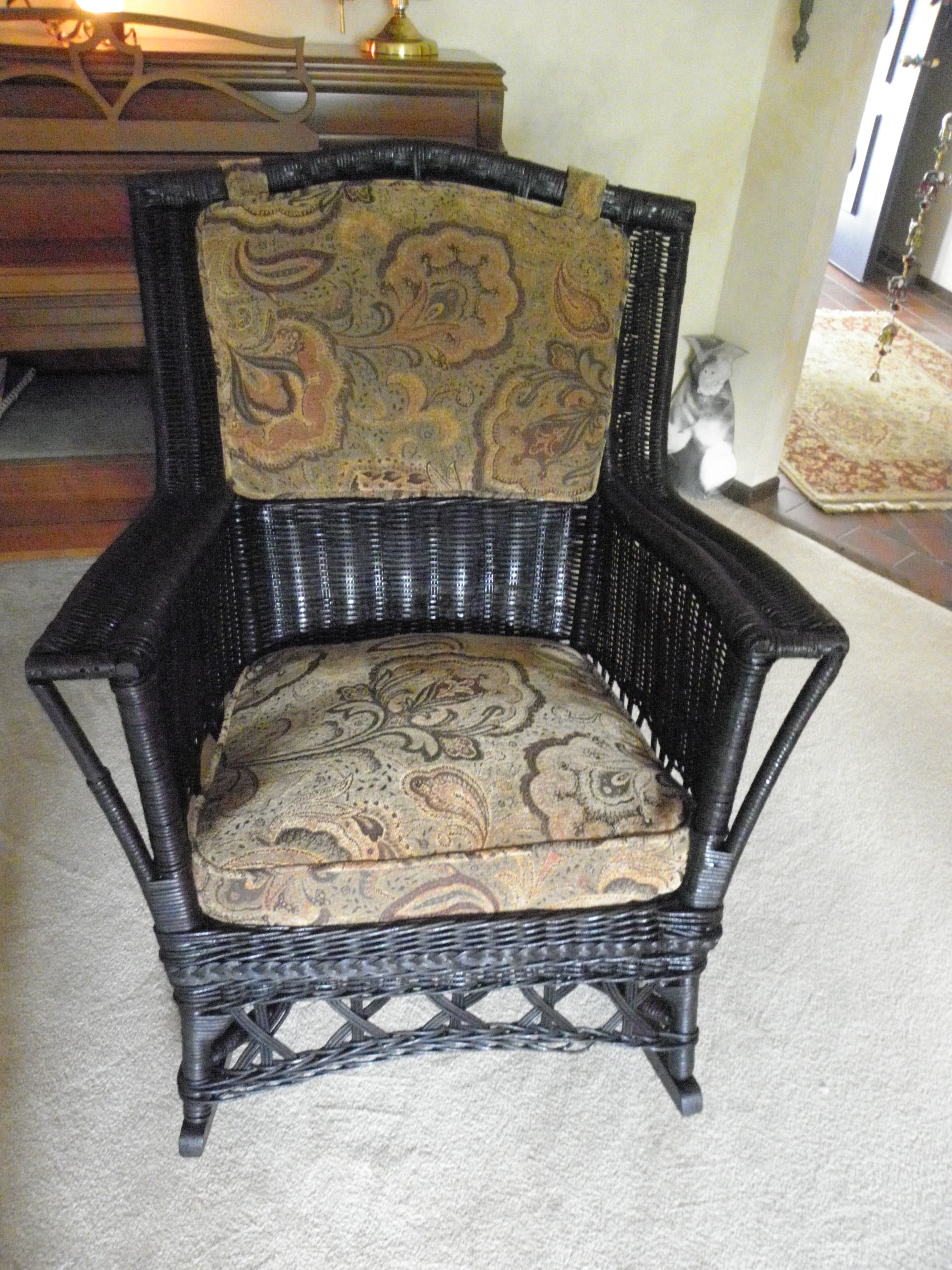 Vintage Wicker Chairs Reupholstered Antique Wicker Rocker | Ginny's Windows