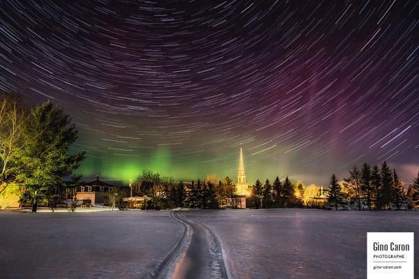 Filé d'étoiles et aurore boréale, 28 mars 2015