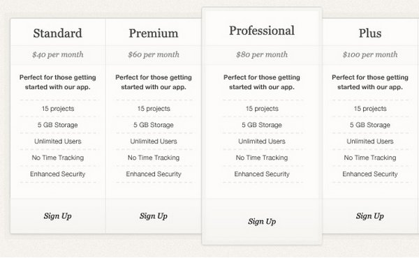 Download 30+ Free Pricing Table Templates Design {CSS3, PSD  WP - price chart templates