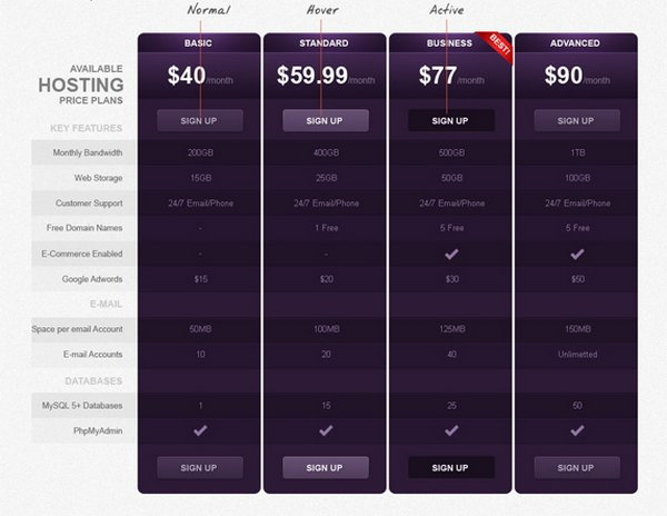 Download 30+ Free Pricing Table Templates Design {CSS3, PSD  WP