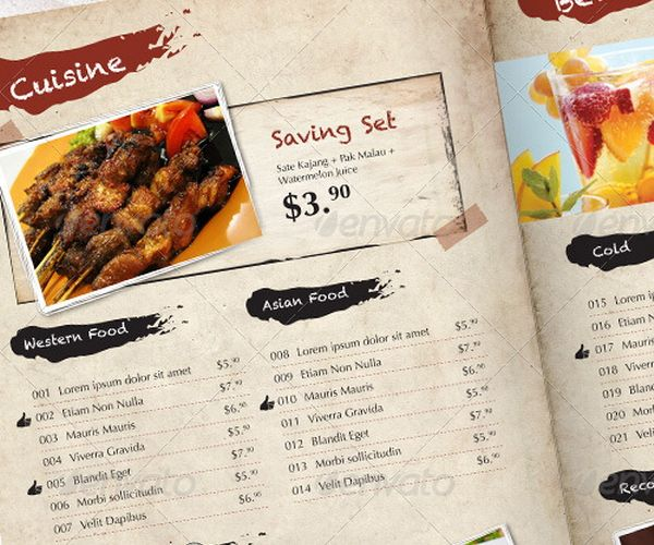 menu template indesign free - Ozilalmanoof