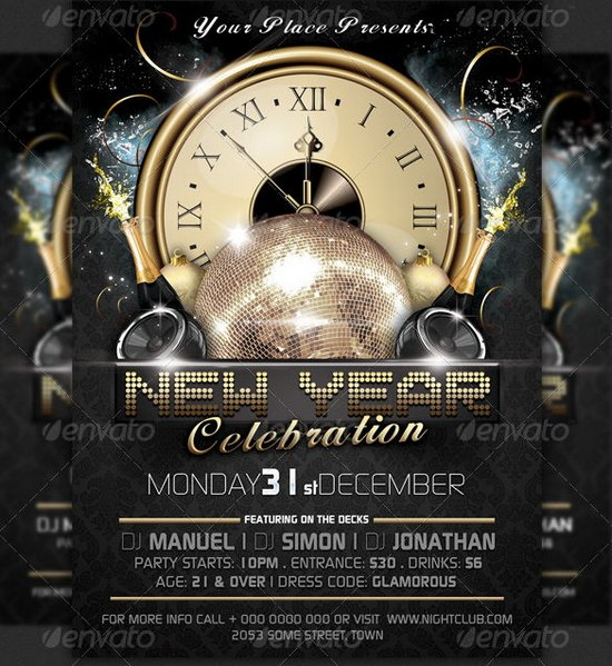 Awesome 2013 New Year Event Flyer Templates Ginva - new year poster template