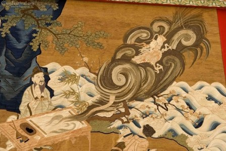 taoist painting flying dragon embroidered textile kakkyo yama gion festival kyoto japan