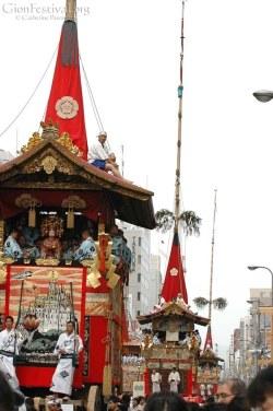 many yamaboko gion festival procession kyoto japan