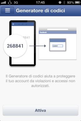 Facebook iOS: Generatore di codici per Facebook
