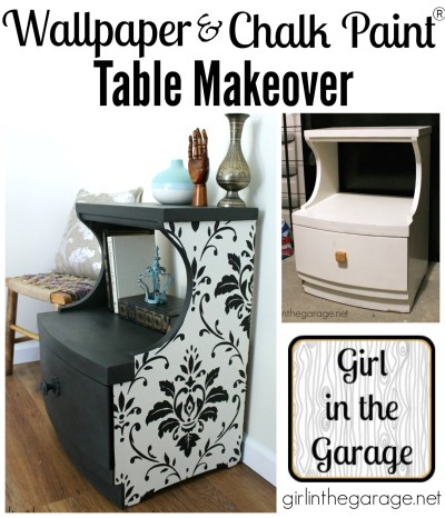 Wallpaper and Chalk Paint Table Makeover   Girl in the Garage®