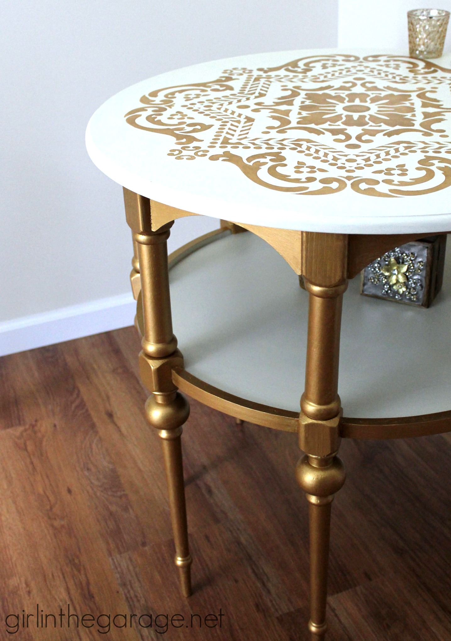Painting Side Table Ideas Gold And White Stenciled Table Themed Makeover Girl In