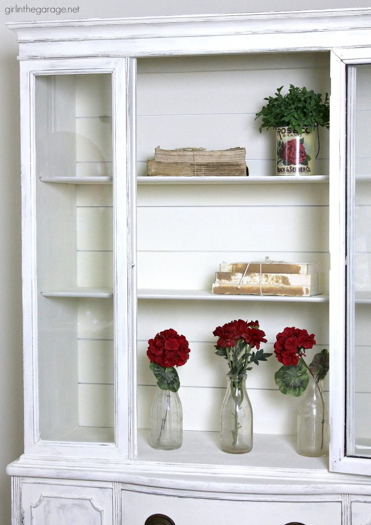 Hobby Garage Farmhouse China Cabinet Makeover With Shiplap - Girl In