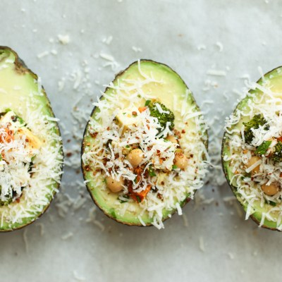 baked avocados with cilantro-lime yogurt