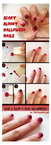 Simple, Easy & Scary Halloween Nail Art Tutorials 2012 For