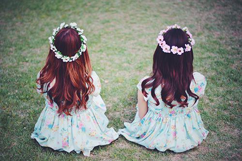 お揃いの花かんむりで満足げな双子の女の子たちのフリー写真素材(商用可)