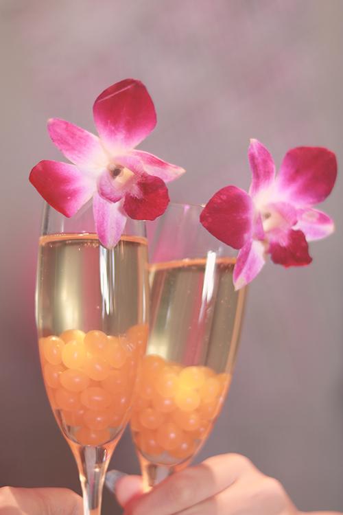 花の飾りがついたお酒を差し出す女の子のフリー写真素材(商用可)