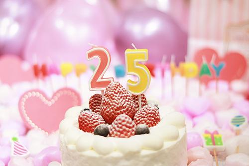 オシャレな誕生日画像:可愛いケーキとキャンドルでお祝い〜24歳編〜のフリー写真素材(商用可)