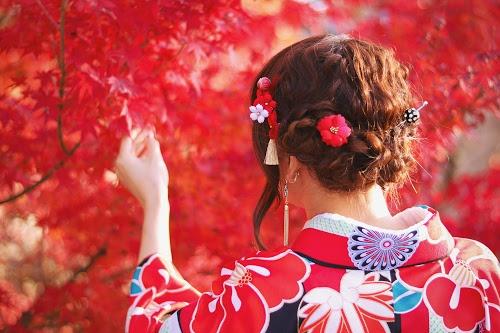 見事な紅葉に思わず手を伸ばしている着物の女の子のフリー写真素材(商用可)