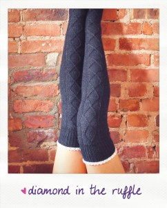 diamond in the ruffle cable knit over the knee socks knitting pattern