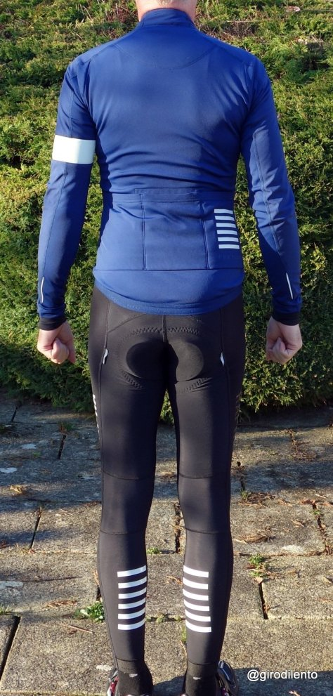From the rear: Rapha Pro Team Jacket and Bib Tights