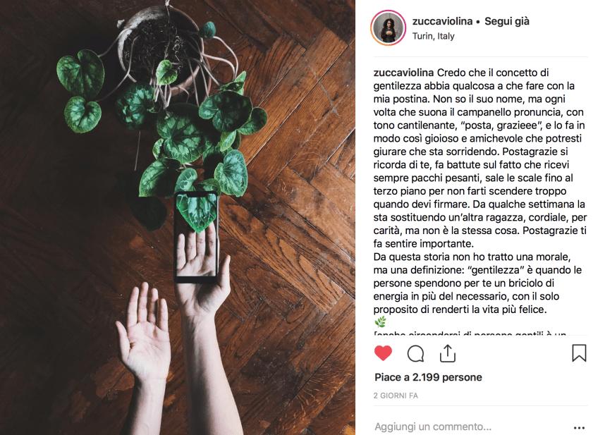 zuccaviolina Instagram gentilezza