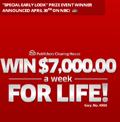 Publishers Clearing House – Win $7,000 a WEEK for life from giveaway ...