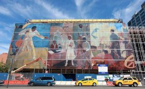Harlem hospital printed a mural across their entire facade.