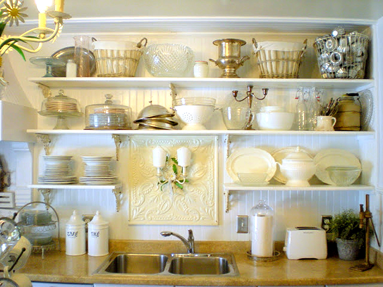 Kitchen Shelves Decorating Cottage Kitchens Cabinetry And Hardware 1 Gjconstructs