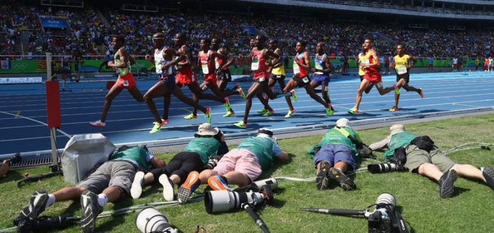 RIO DE JANEIRO, BRAZIL - AUGUST 17:  A view of competitors during the Men's 5000m Round 1 - Heat 1 on Day 12 of the Rio 2016 Olympic Games at the Olympic Stadium on August 17, 2016 in Rio de Janeiro, Brazil.  (Photo by Alexander Hassenstein/Getty Images)