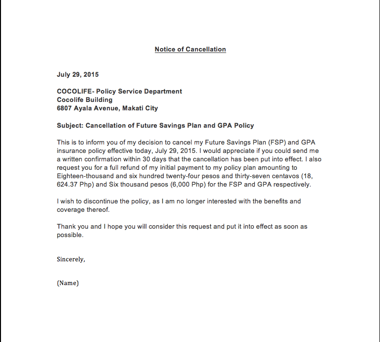 Letter To Cancel My Life Insurance Policy Free Resume