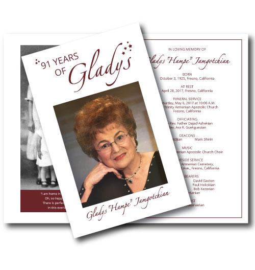 Memorial Program \u2013 Gladys \u2013 91 Years of Gift Giving