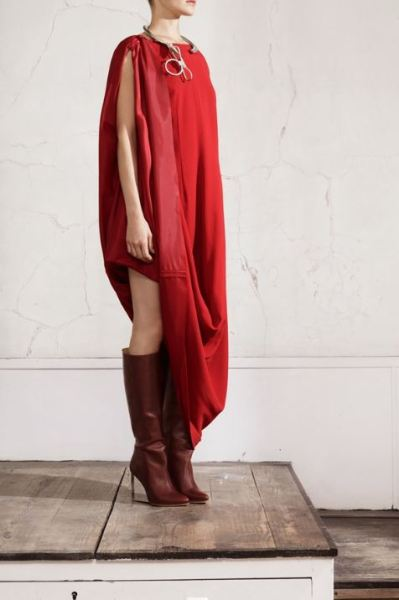 Giulia-Bevilacqua-7th-Rome-Film-Festival-Closing-Wearing-Maison-Martin-Margiela-X-HM-burgundy-clear-heel-boot-dress-4
