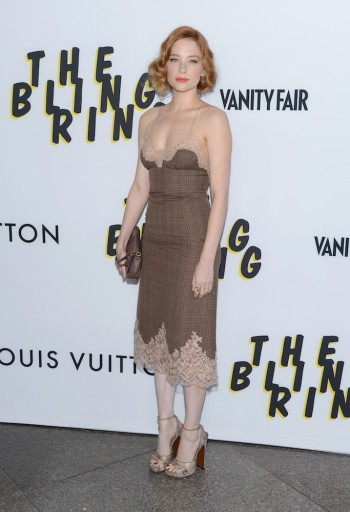 Haley Bennett in Louis Vuitton at the premiere of A24's