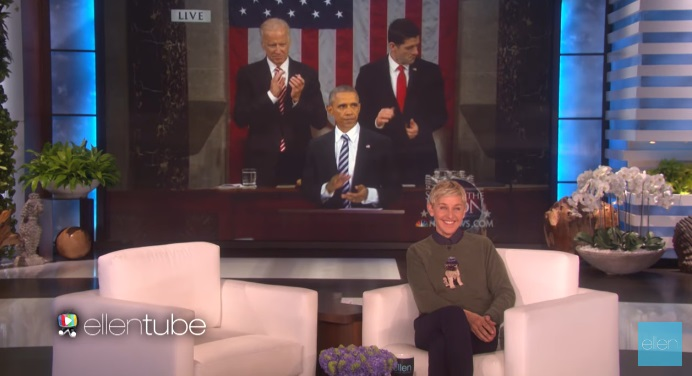Ellen DeGeneres Pays Tribute To Obama For His Last Day As President