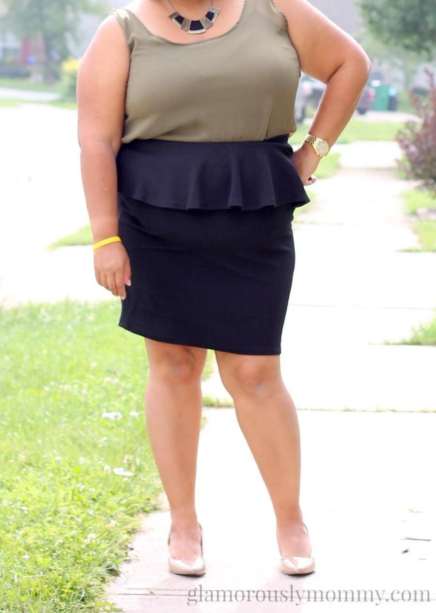 Plus Size black peplum skirt