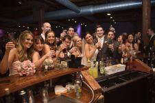 wedding party at the bar