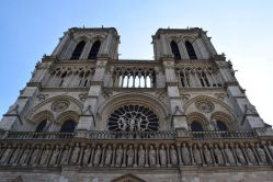 Admiring the gargoyles on the Notre Dame Cathedral