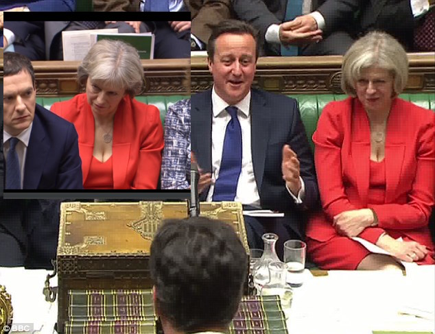 David Cameron turns up in a mad colour clash, with an extra Theresa May on his shoulder