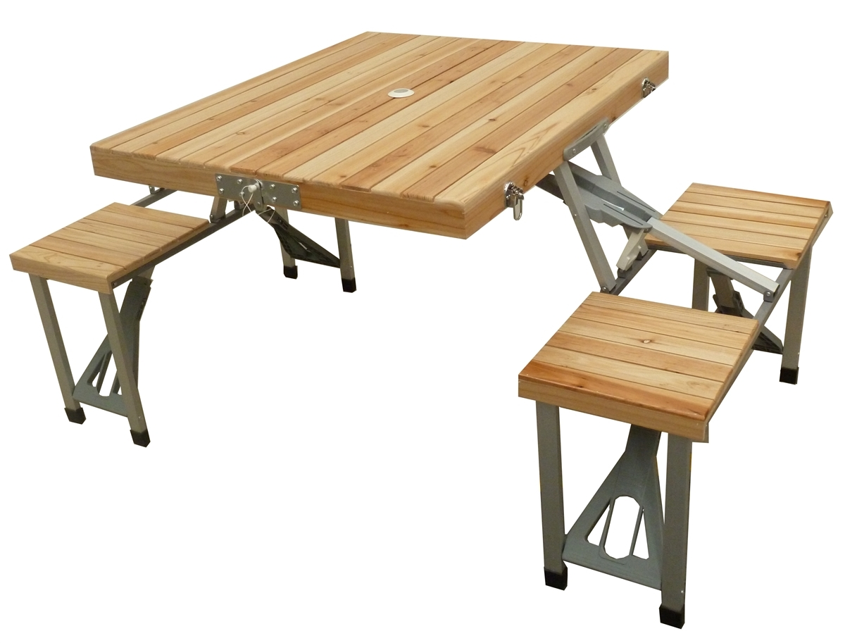 Brabantia Com Mannagum Folding Picnic Table Set With Wooden Table & Seats