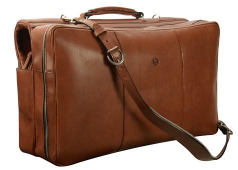 Hand-burnished,-espresso-Short-Hop-Garment-Bag;-22-x-14-x-8'