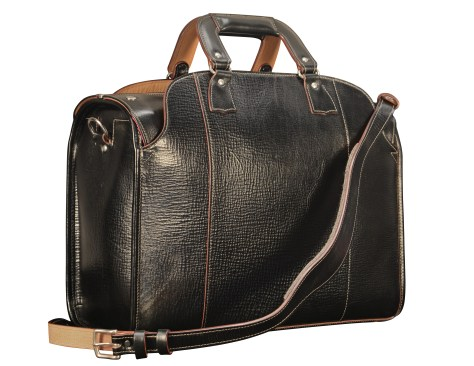 Hand-grained,-hand-colored-black-Deal-Bag-with-hand-grained-natural-trim-and-crimson-red-lining;-17-x-12-x-7-back