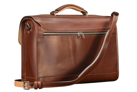 Hand-burnished-espresso-with-two-front-open-pockets,-natural-leather-trim-and-California-blue-lining;-17-x-12-x-5-back