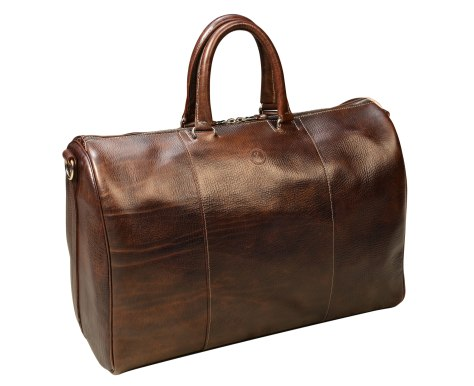 Hand-grained-hand-colored-olive-brown-Duffel-Bag-with-turquoise-lining;-19-x-13-x-9-topdown1