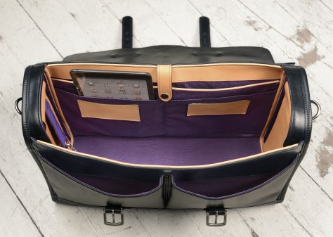 Hand-burnished-black-Flapover-Bag-with-natural-trim-and-purple-lining;-17-x-12-x-5-topdown2