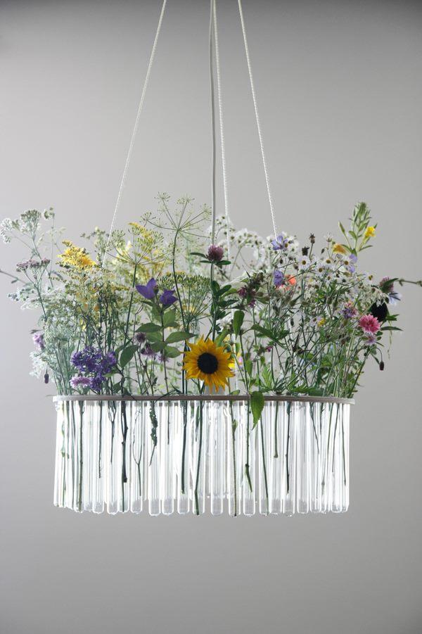 Flower test tube chandelier for Glass test tubes for crafts