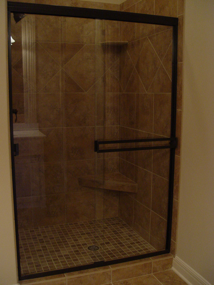 Satin Nickel Custom Shower Doors, Etched And Painted
