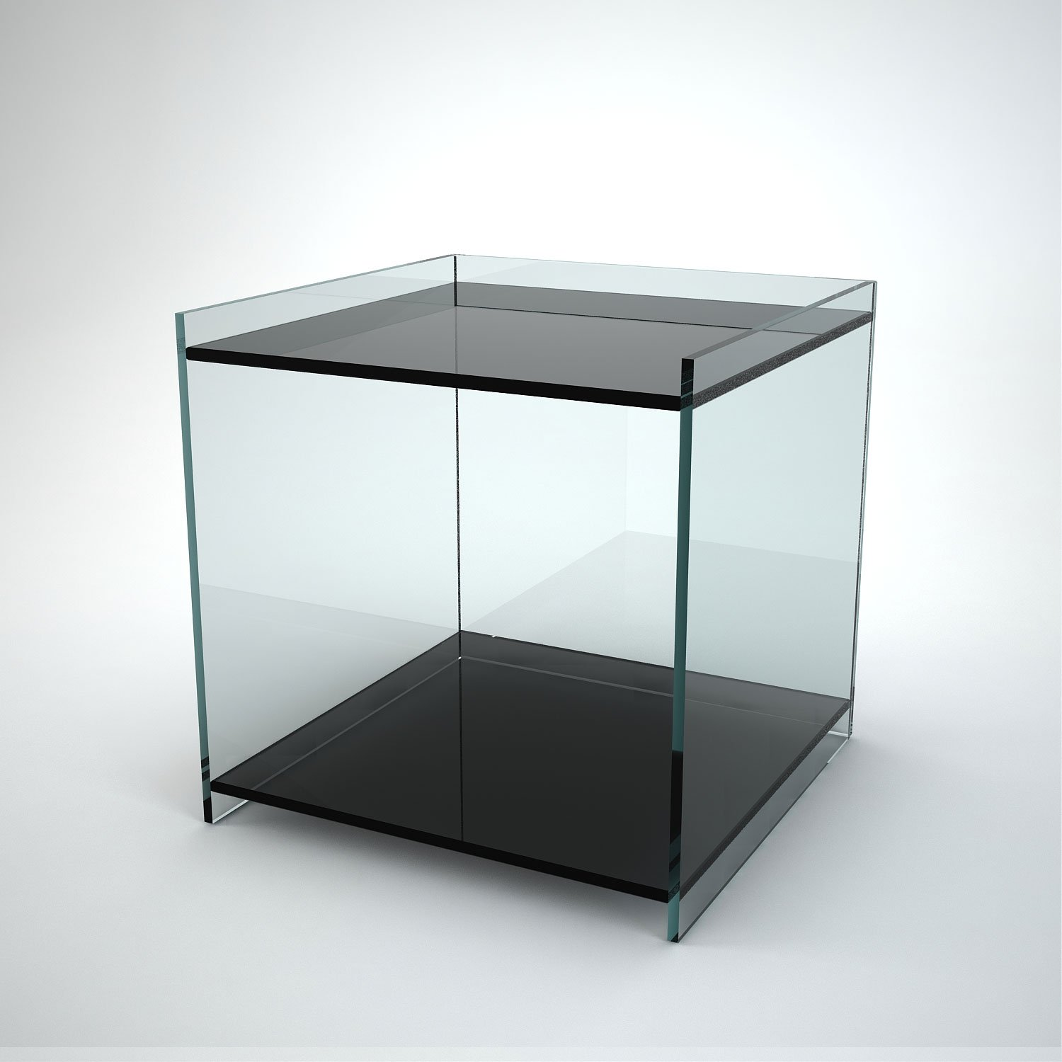 Side Table Glas Recess Glass Side Table With 2 Shelves Klarity Glass