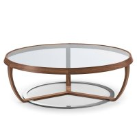 Time Walnut and Glass Coffee Table - Klarity - Glass Furniture
