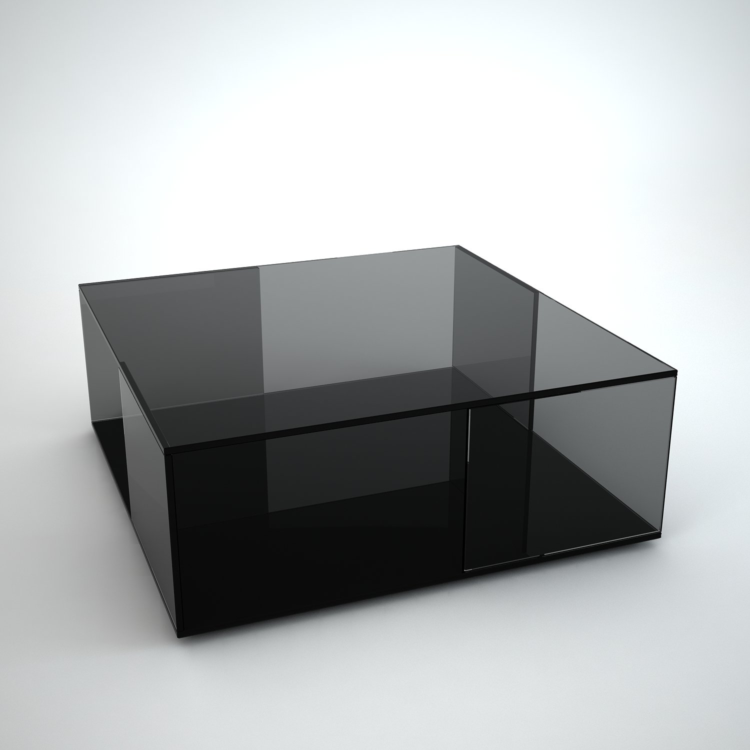 Coffee Table With Black Glass Top Tifino Square Grey Tint Glass Coffee Table By Klarity
