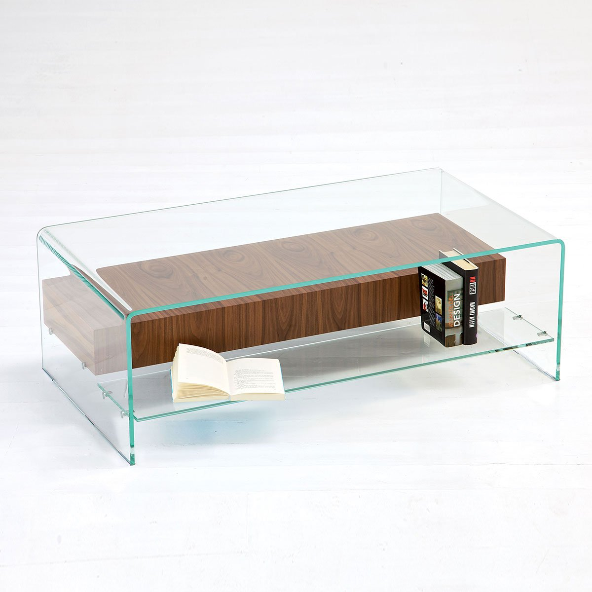Glass End Table With Drawer Bridge Glass Coffee Table With Shelf And Drawer Klarity