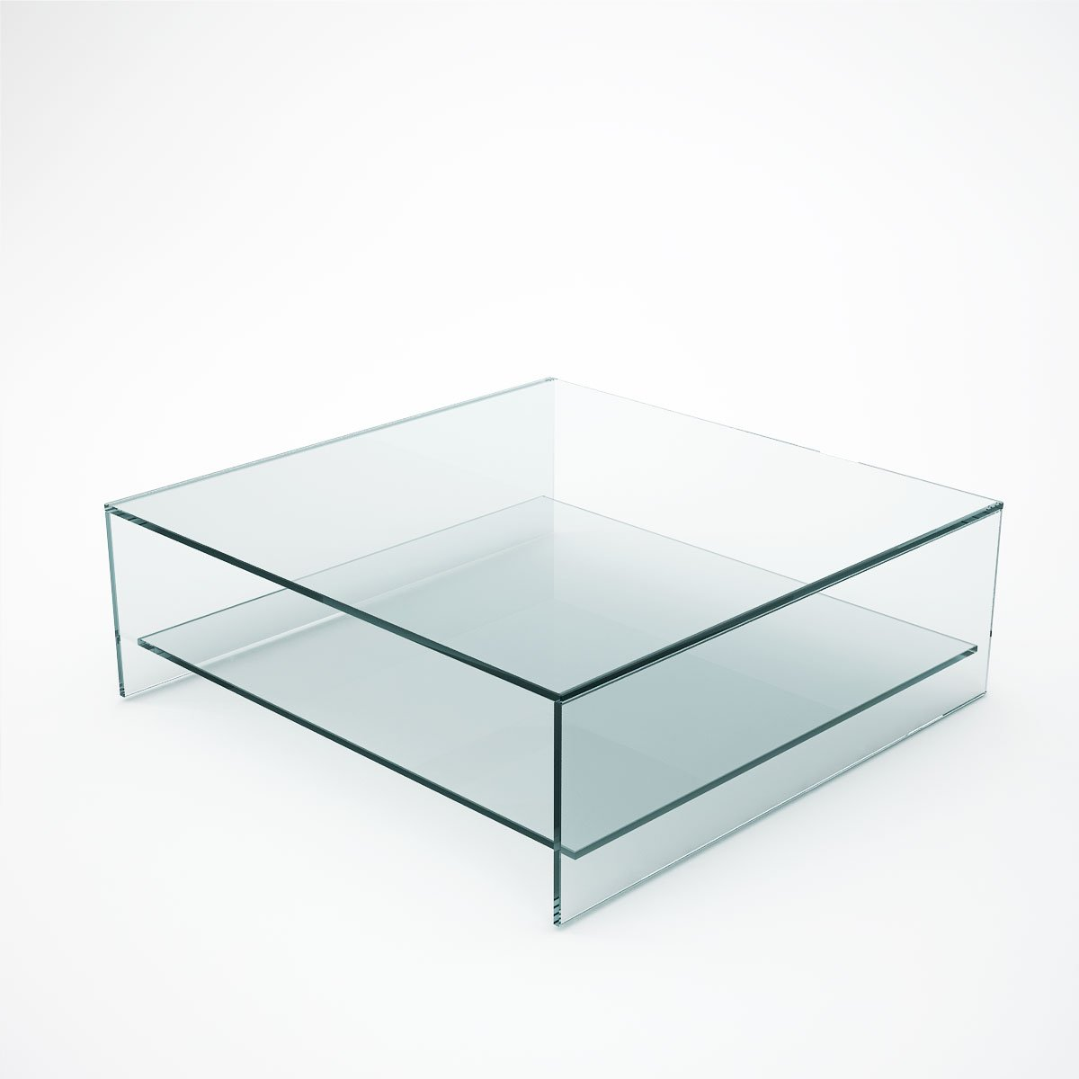 Couchtisch Glas Ablage Judd - Square Glass Coffee Table With Shelf - Klarity
