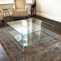 Judd - Square Glass Coffee Table with Shelf - Klarity ...